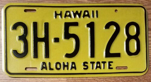 "1969-75 HAWAII HI LICENSE PLATE TAG ""3H-5128"" – HAWAII County - VINTAGE"