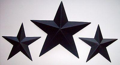 "Lot of 3 Tin Black Barn Stars 8"" 12"" Primitive Rustic Country Farmhouse Decor"
