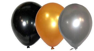Luftballons Schwarz (100 Luftballons Silber+Gold+Schwarz gem. Ø 25 cm Silvester Party Geburtstag NEU)