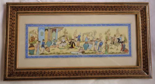 Persian intricate khatam Marquetry frame with camel bone & hand painted picture