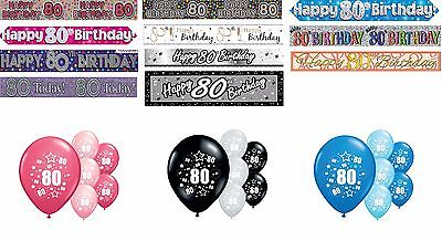 80th BIRTHDAY BANNERS PINK BLUE BLACK MULTI PARTY DECORATIONS (80th Birthday Banners)
