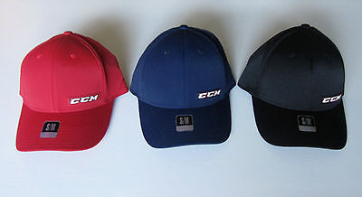 Tactel Flex-cap (CCM Tactel Full Flex Hockey Hat! Fitted Cap SR All Sizes S M L XL Navy Red Black)