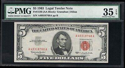 Affordable Genuine Fr  1536  5 1963 Granahan Dillon Pmg Graded Choice Vf 35 Epq