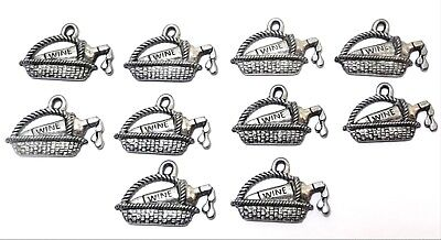 Set of Ten (10) Pewter Wine Bottle in Basket Charms-5446 - Wine Charms In Bulk