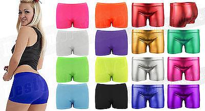 Damen Mädchen Hotpants Stretch-Shorts Neon Mini Tanz Farben Fitnessstudio (Tanz Studio Kostüme)