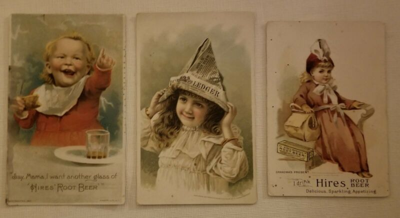 Lot Of 3 Vintage Hires Root Beer Trading Cards