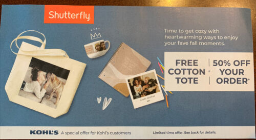 Shutterfly Cotton Tote 50 Off Your Order Coupon Exp December 17, 2021 - $2.00