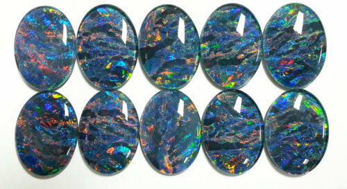 A Unique Set of 10 Matching 30x22 mm Oval Australian Opal Triplets