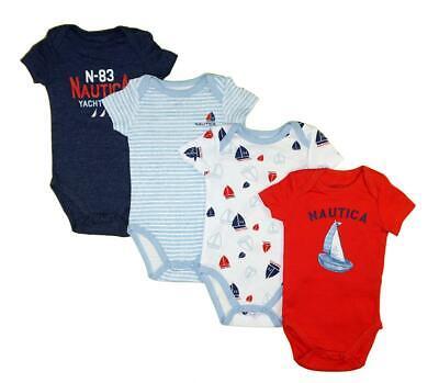 Nautica Infant Boys Red & Multi 4 Pack Bodysuits Size 0/3M 3/6M 6/9M $42