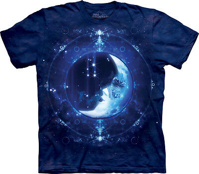 The Mountain Moon Face Fantasy Night Fairy Tale Mythical Adult Mens T Tee Shirt - Fairy Tale Men