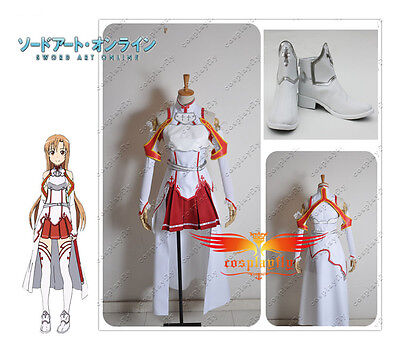 Sword Art Online Asuna Yuuki Cosplay Costume Clothes And Shoes Full Set Any - Costume Clothes Online