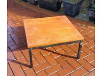 Sturdy square coffee table - wood top with metal frame