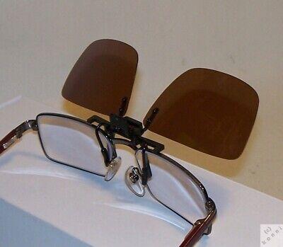 Vorhänger Sonnenbrille zum Hochklappen Cat.3 Brille Flip Up Clip On braun _ah