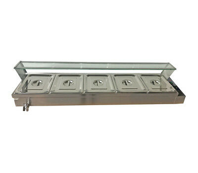 5-pan Bain-marie Buffet Steam Table 110v Food Warmer Diner Restaurant Portable