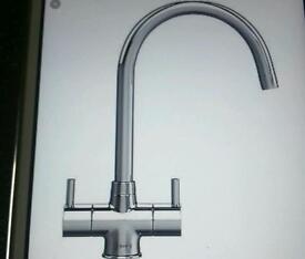 Chrome finish kitchen mixer tap