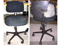 FREE TO COLLECT FROM NEAR COCKBURNSPATH TD13 Old office / typist's grey swivel chair on castors.