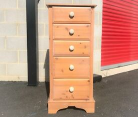 Wood Chest of 5 Drawers Crackle Knobs