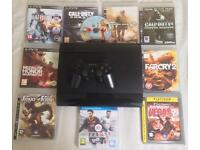SONY PLAYSTATION SUPERSLIM 500GB PS3 CONSOLE GAMES BUNDLE GTA 5 GT5 COD AW MW2 BATMAN BATTLEFIELD