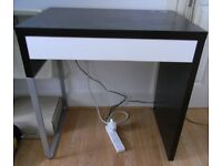 Small desk (black-brown with white drawer)
