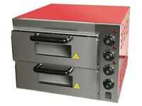 "Electric Commercial Double Deck Electric Table Top Pizza Oven Stone Base 16"" Pizza"