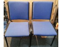 Pair of Galaxy Stacking Office Chairs Cobalt Blue