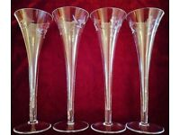 NEW Set 4 Tall Flutes or Small Vases Glassware Engraved Grape Filigree Design Wedding CHRISTMAS