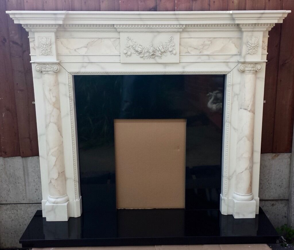 Elgin and Hall Surround and Black Granite Back and Hearth