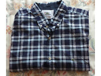 LACOSTE Classic Fit Short Sleeve Check Shirt Blu/Wht Size 44 XL - Excellent Condition