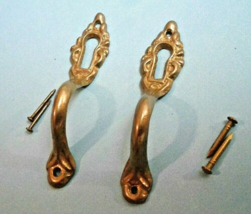2 Vintage Key Hole Covers Brass Door Pulls or Desk Vertical Victorian Style