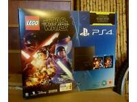 Sony PS4 500gb console, Lego Star Wars game and Star Wars The Force Awakenings Blu-Ray movie
