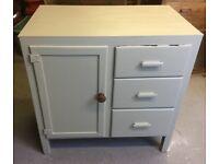 Old vintage painted solid wood cupboard