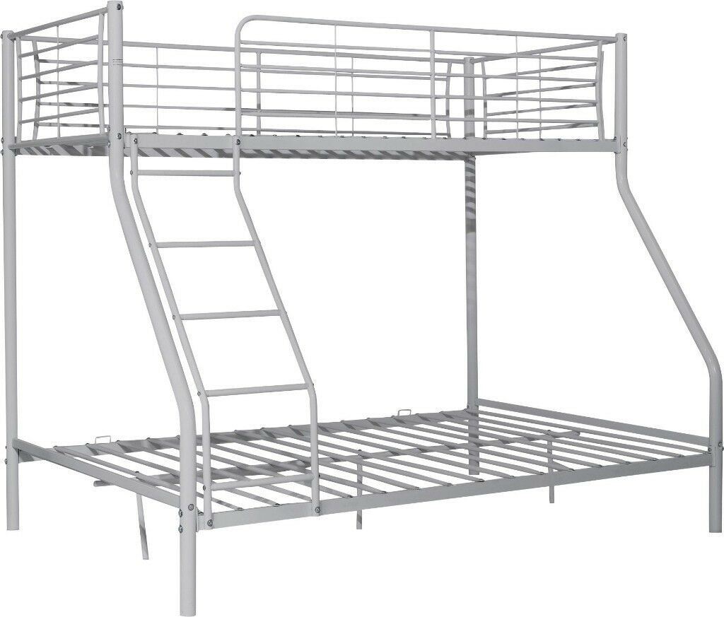 Lucas Metal Triple Bunk Bed Frame Silver In Bramley West