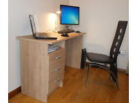 Office Desk Three Drawer Oak Finish £45