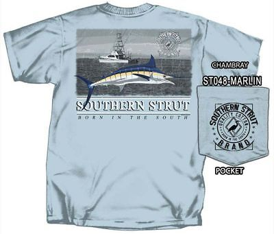 Southern Strut Blue Marlin & Offshore Boat Cotton Short Sleeve T Shirt Offshore Boat T-shirt