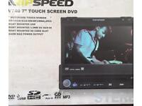 """Ripspeed 7"""" touchscreen in car DVD player detachable face new in the box"""