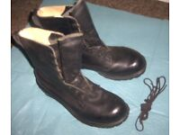 BRITISH ARMY ISSUE BLACK LEATHER COMBAT ASSAULT BOOTS SIZE 8