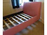 Pink Faux Leather Single Bed and Mattress Good Clean Condition