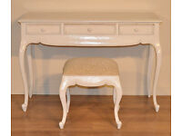 Attractive Vintage Painted Writing Dressing Table With Drawers & Matching Stool