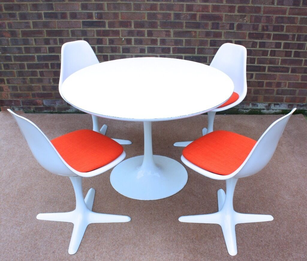 Mid century space age arkana dining table chairs retro for Vintage 70s chair