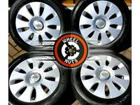 "16"" Genuine Audi A3 alloys Caddy Golf etc excellent tyres."