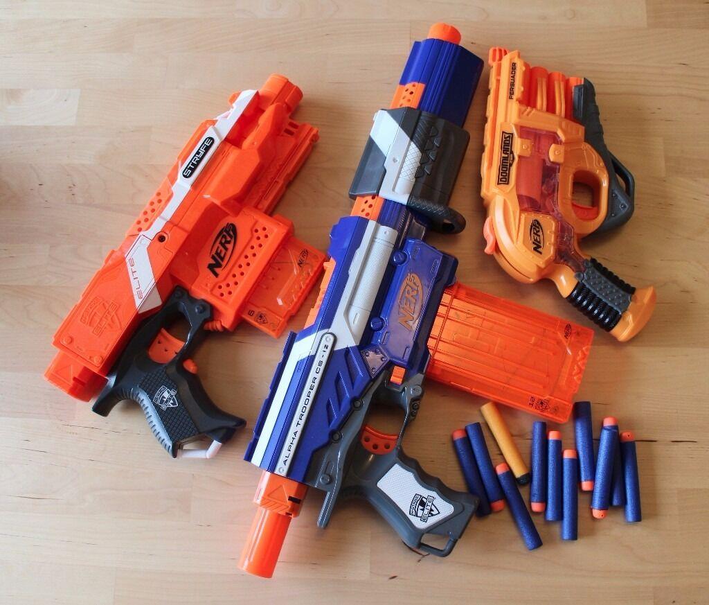 3 x NERF Guns + 11 Nerf dart bullets Nstrike Blaster Elite Alpha Trooper  Doomlands Persuader