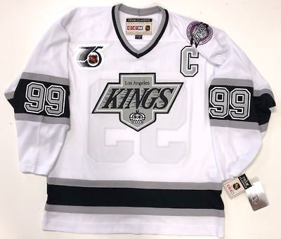 WAYNE GRETZKY LOS ANGELES KINGS 1991 NHL 75TH CCM TEAM CLASSIC WHITE JERSEY NEW - Kings White Jersey