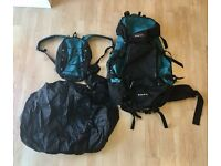 Freedom Trail Kestrel 75 Green/Black Backpack with Multiple Pockets, Waterproof Cover, Daypack, etc.