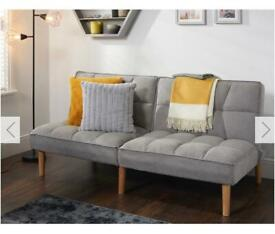 BN NEVE LINEN 3 SEATER SOFA BED - GREY