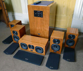Surround Sound/Home Cinema Quad L-ite 5.1 Speaker system in Cherry wood. Fully boxed, Fab sound!