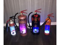 Upcycled light up fire extinguishers for man cave / bar
