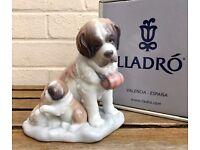 LLADRO -BABY SITTING- ANIMAL FIGURE MODEL 8170 MUM DAD BABY PUPPY ST BERNARD DOG -BOXED-