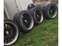 "BMW Alloy Wheels 5x120 18"" Staggered Black Silver With New Tyres"