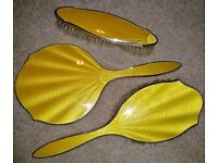 VINTAGE Silver Plated and Yellow Guilloche Enamel Dressing Table Vanity Set VGC
