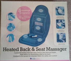 LifeMax Heated Back & Seat Masager. (Mains adapter & Cigar Lighter adapter. A few Preset Programs